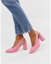 Faith Pink Slingback Cylinder Heeled Shoes