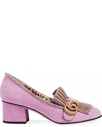 Gucci Suede Mid Heel Pumps With Crystals