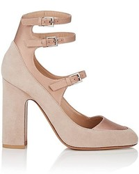 Valentino Garavani Suede Satin Triple Buckle Pumps
