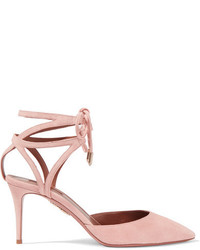 Uma lace up suede pumps baby pink medium 1251361