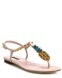 Dolce & Gabbana Pineapple Suede Thong Sandals