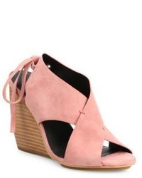 Rebecca Minkoff Eden Suede Crossover Wedge Sandals