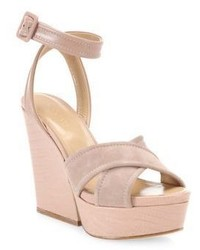 Sergio Rossi Hannelore Suede Leather Wedge Sandals