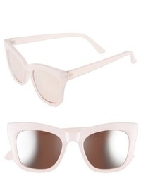 50mm Mirrored Cat Eye Sunglasses Light Pink