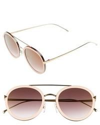Fendi 51mm Round Aviator Sunglasses Pink Gold