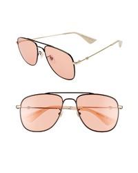 Gucci 57mm Aviator Sunglasses