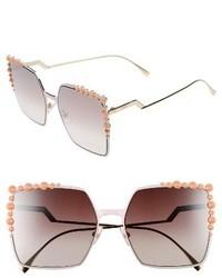 Fendi 60mm Gradient Square Cat Eye Sunglasses Black
