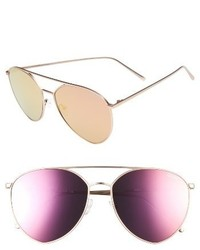 Quay Australia X Jasmine Sanders Indio 60mm Mirrored Aviator Sunglasses Silver Blue