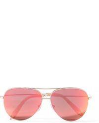 Victoria Beckham Aviator Style Gold Tone Mirrored Sunglasses Pink