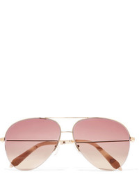Victoria Beckham Aviator Style Gold Tone Sunglasses Pink