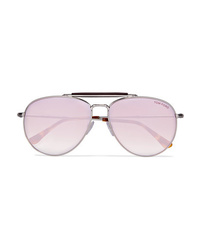 Tom Ford Aviator Style Silver Tone And Tortoiseshell Acetate Mirrored Sunglasses