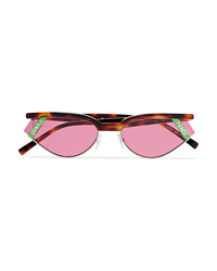 Fendi Gentle Cat Eye Tortoisehell Acetate And Silver Tone Sunglasses