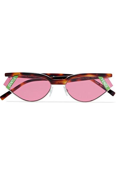 Fendi Gentle Cat Eye Tortoisehell Acetate And Silver Tone Sunglasses
