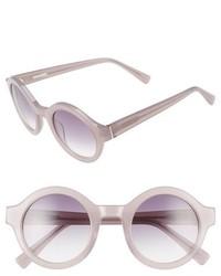 Derek Lam Luna 47mm Round Sunglasses Brown Feather