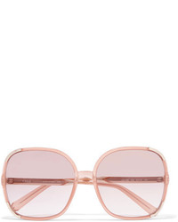 Chloé Myrte Square Frame Acetate And Gold Tone Sunglasses Peach