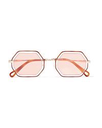 Chloé Octagon Frame Gold Tone And Acetate Sunglasses