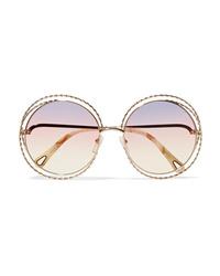 Chloé Oversized Round Frame Gold Tone Sunglasses