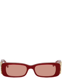 Balenciaga Red Dynasty Rectangle Sunglasses