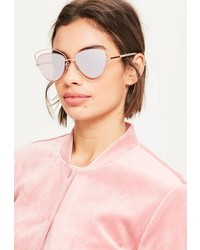 Missguided Rose Gold Cat Eye Metal Frame Sunglasses