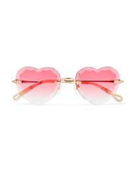 Chloé Rosie Heart Shaped Gold Tone Sunglasses