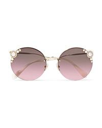 Miu Miu Round Frame Embellished Gold Tone Sunglasses