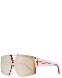 Karen Walker Salvador Oversized Mirrored Wrap Sunglasses Pink