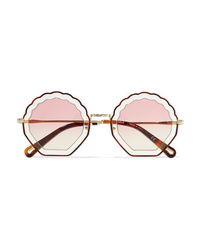 Chloé Scalloped Round Frame Gold Tone And Tortoiseshell Acetate Sunglasses