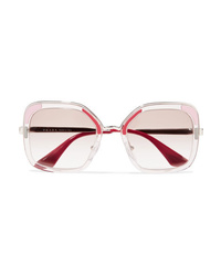 Prada Square Frame Acetate And Silver Tone Sunglasses