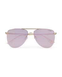Le Specs The Prince Aviator Style Gold Tone Mirrored Sunglasses