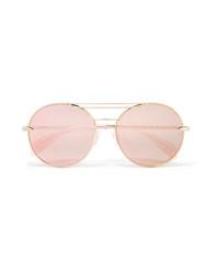 Rag & Bone Vittoria Round Frame Gold Tone Mirrored Sunglasses