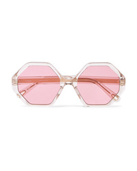 Chloé Willow Hexagon Frame Acetate And Gold Tone Sunglasses