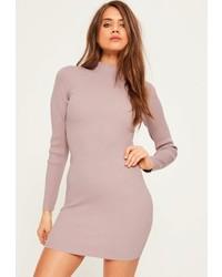 Mauve basic high neck mini sweater dress medium 3647251