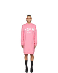 MSGM Pink Artist Logo Sweatshirt Dress