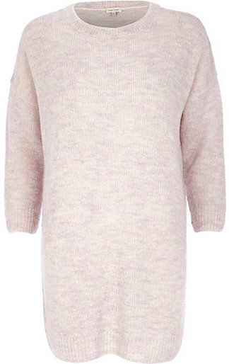 River Island Pink Boucle Knit Dress