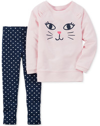 Carter's 2 Pc Cat Sweatshirt Leggings Set Baby Girls