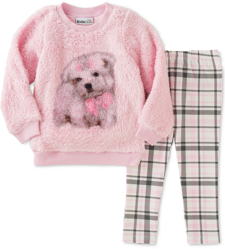 Kids Headquarters Baby Girls 2 Pc Faux Fur Dog Sweatshirt Plaid Leggings Set