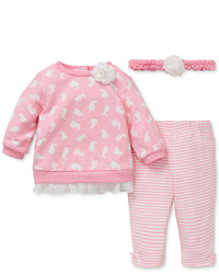 Little Me Baby Girls 3 Pc Headband Bunny Print Sweatshirt Leggings Set
