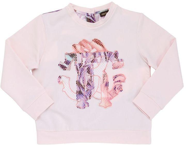 Roberto Cavalli Printed Light Cotton Satin Sweatshirt