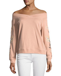 Rebecca Minkoff Macey Off The Shoulder Embroidered Sweatshirt