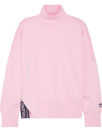 adidas Originals Printed Cotton Blend Jersey Sweatshirt Baby Pink