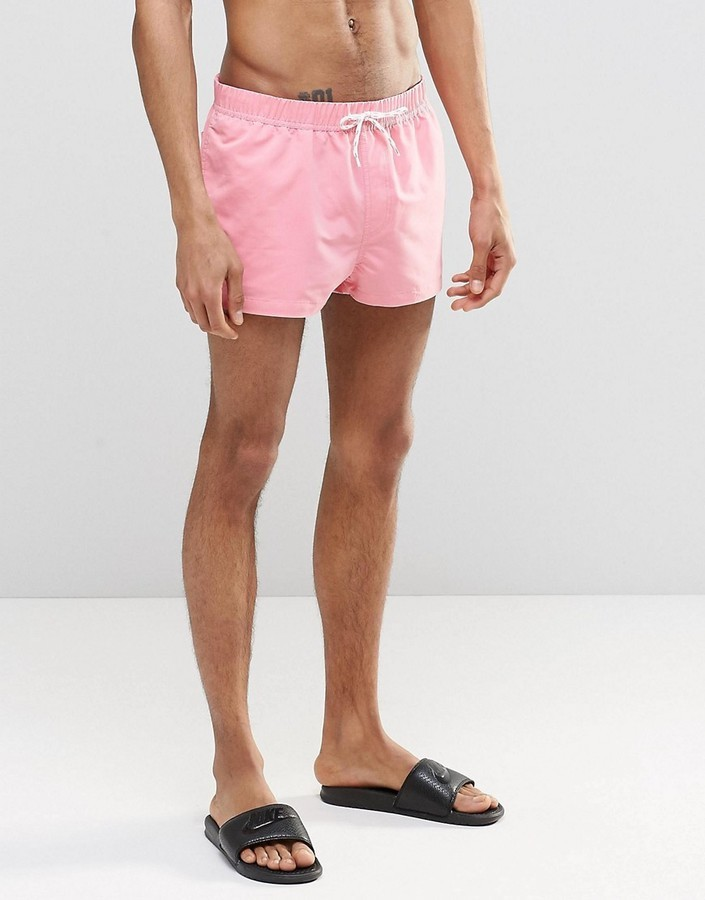 ... Asos Brand Super Short Length Swim Shorts In Pink ...