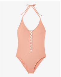 Express Lace Up One Piece Swimsuit