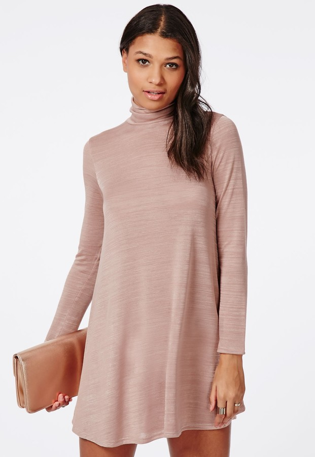 36 Missguided Long Sleeve Roll Neck Swing Dress Pink Marl