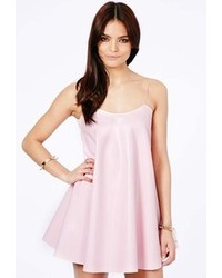 ffe0d1b2a28a ... Missguided Nimesa Faux Leather Strappy Swing Dress In Baby Pink