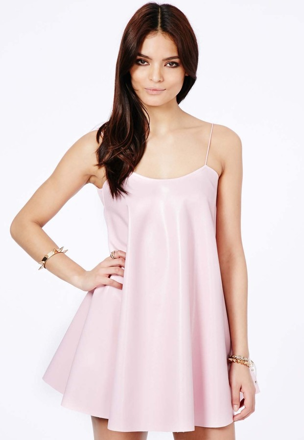 dbf7a374ae665 Missguided Nimesa Faux Leather Strappy Swing Dress In Baby Pink, $47 ...