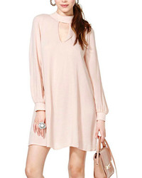 ChicNova V Neck Liner Long Sleeves Light Pink Dress
