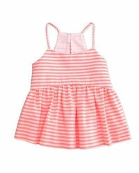 Milly Minis Striped Racerback Smocked Tank Fluo Pink Size 8 14