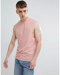 ONLY & SONS Dropped Arm Hole Vest In Misty Rose