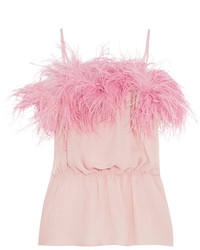 Prada Feather Trimmed Crinkled Silk Chiffon Camisole Pink