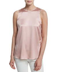 Brunello Cucinelli Jewel Neck Slim Fit Satin Tank Lotus